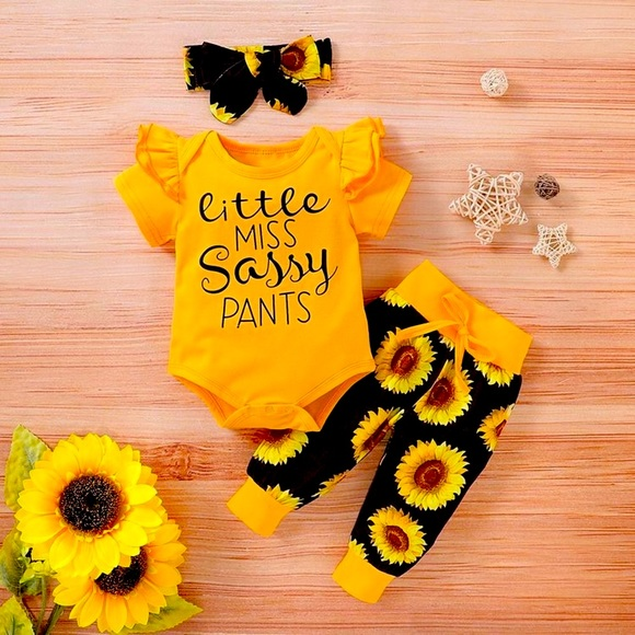 Little Miss Sassy Pants 3 PC Sunflower Baby Set